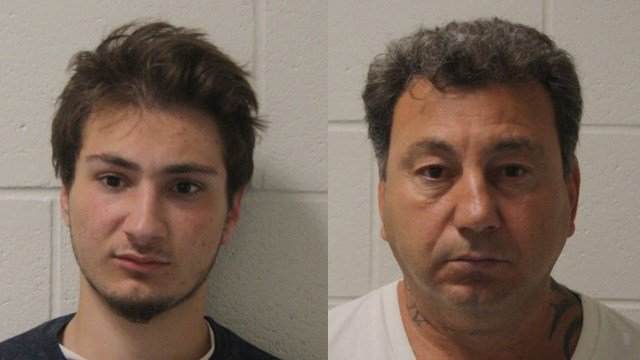 Gino Vella and Anthony Vella face charges after Gino Vella collided with a Branford police cruiser and tried to attack an officer, police said. (Branford police)