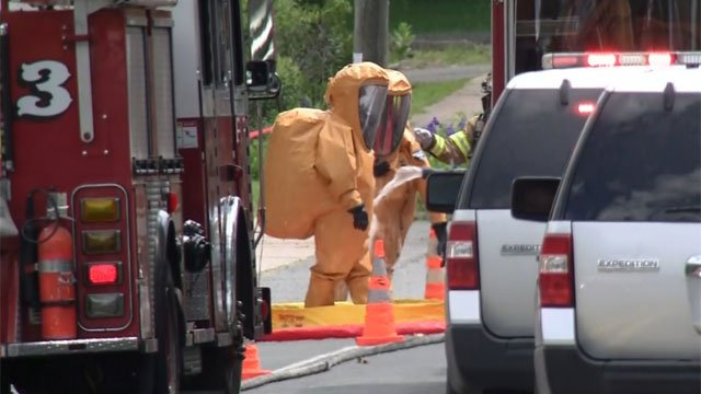 Crews were on scene of leak in East Hartford on Friday morning. (WFSB)