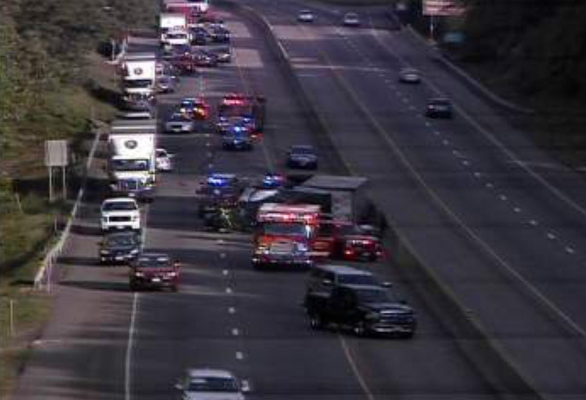 Traffic creeping along I-95 northbound in Clinton after a tractor trailer rollover.  (CT State Police)