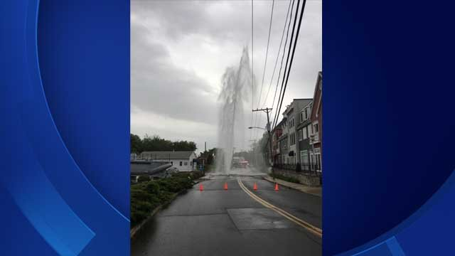A huge water main break has closed a road in Milford (Milford PD)
