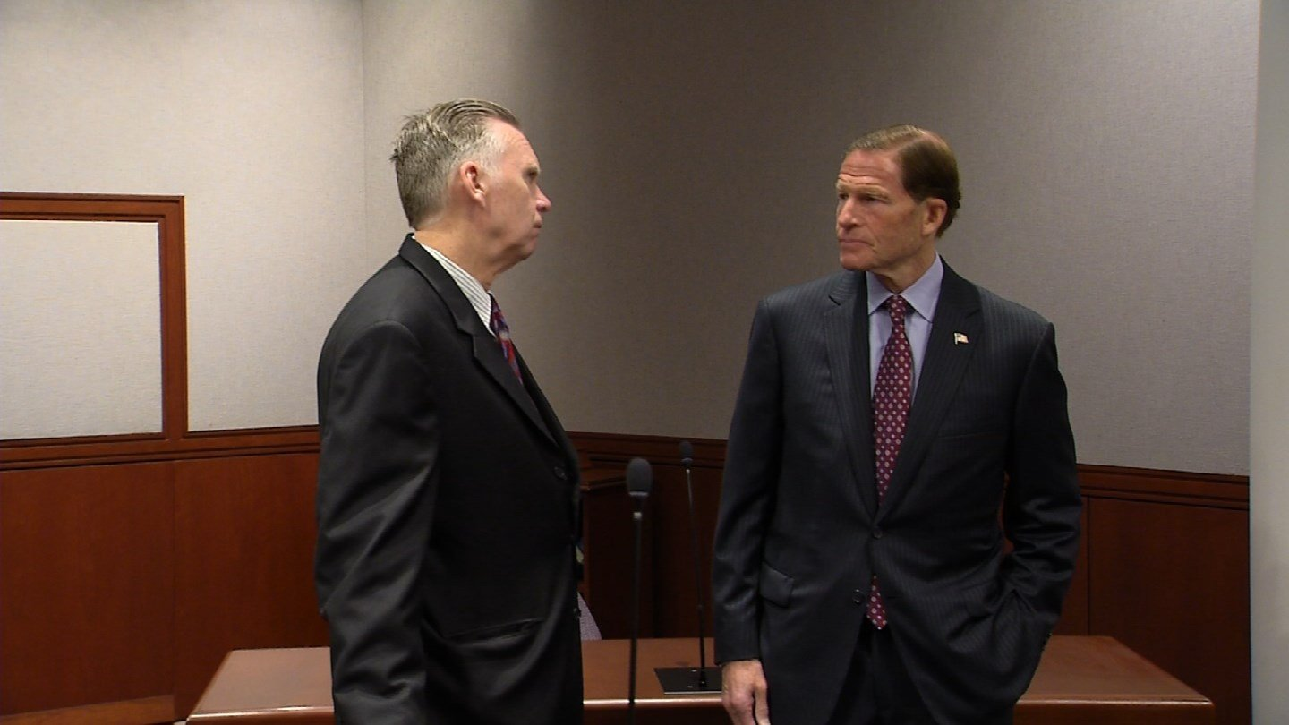 Sen. Richard Blumenthal said the U.S. needed to share intelligence with its allies to counter terrorism. (WFSB)