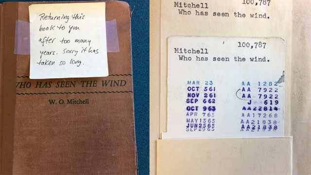 This copy of Who has Seen the Wind by W.O. Mitchell was due back on Sept. 29, 1965. (West Hartford Libraries)