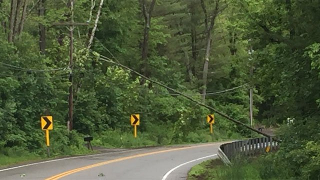 Route 140 in Ellington closed due to tree across the road. (WFSB)