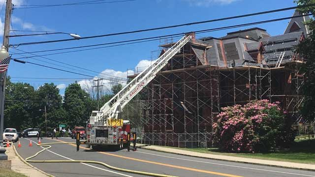 Crews battled a fire at Naugatuck's old Board of Education building. (WFSB)