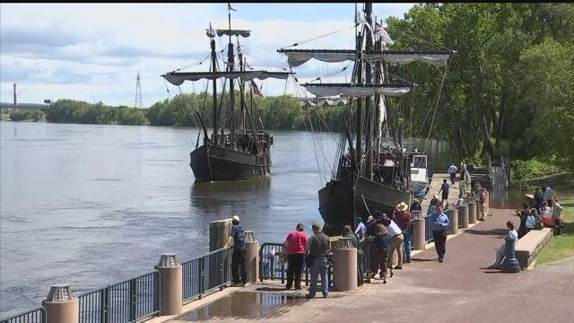 Two replica ships dock in Hartford on Wednesday afternoon. (WFSB)