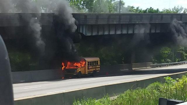 No children were on the bus when it caught on fire. (Jane Vignone)