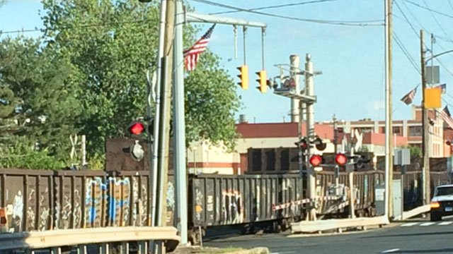 A woman was hit by a train in Windsor Locks on Friday night. (Steven Bout)