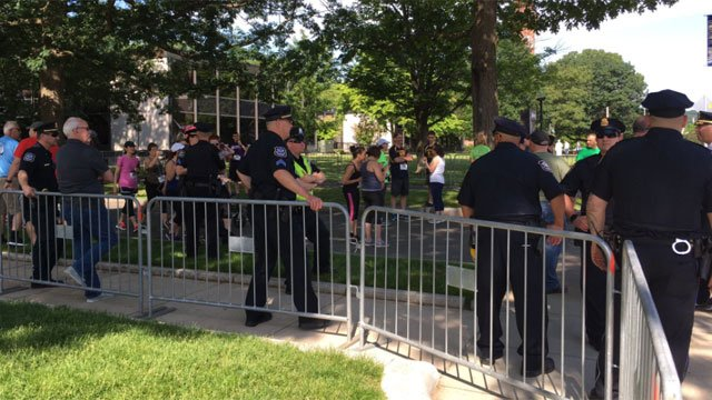 There was a significant police presence in Waterbury ahead of Saturday morning's protest. (WFSB)