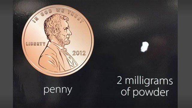 CT Sate Police showed that 2 milligram dose of carfentanil is lethal and what it looks like when compared to the size of a penny.