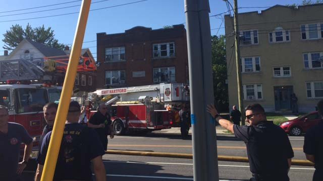 Crews battled a fire in East Hartford on Monday afternoon (WFSB)