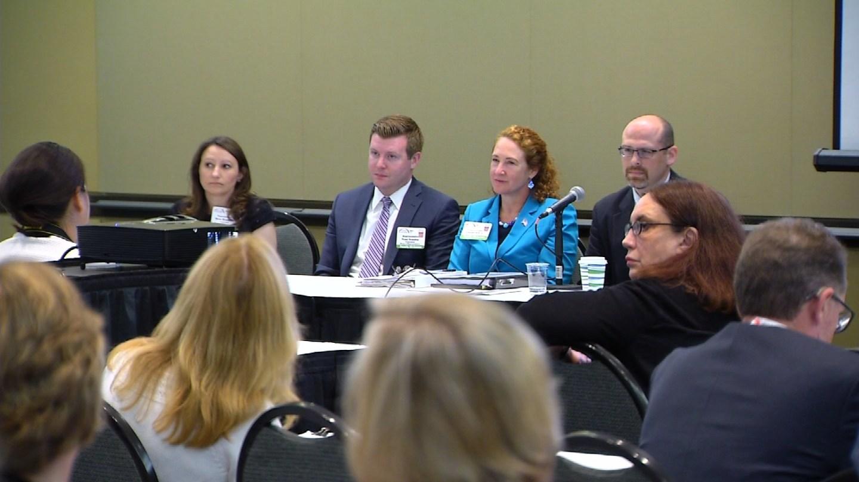 Rep. Elizabeth Esty listens to experts on Monday regarding the opioid crisis. (WFSB)