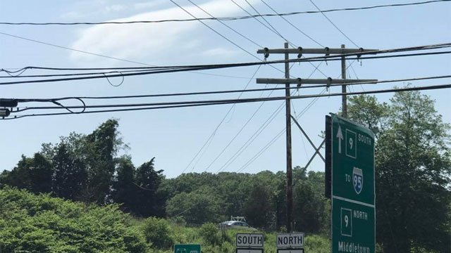 Fallen wires have closed both sides of Route 9 in Old Saybrook on Tuesday. (Old Saybrook Fire Department)