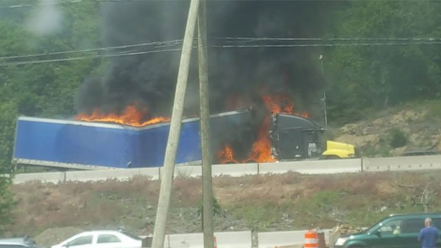 A tractor trailer fire closed part of I-84 eastbound in Waterbury (Joe Wallace)