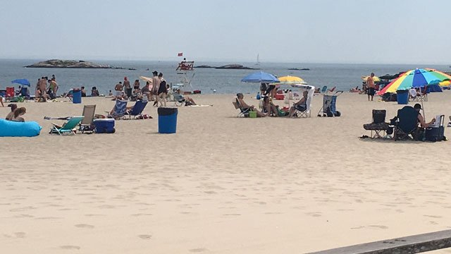 Lifeguards were on duty at Ocean Beach in New London on Tuesday. (WFSB)