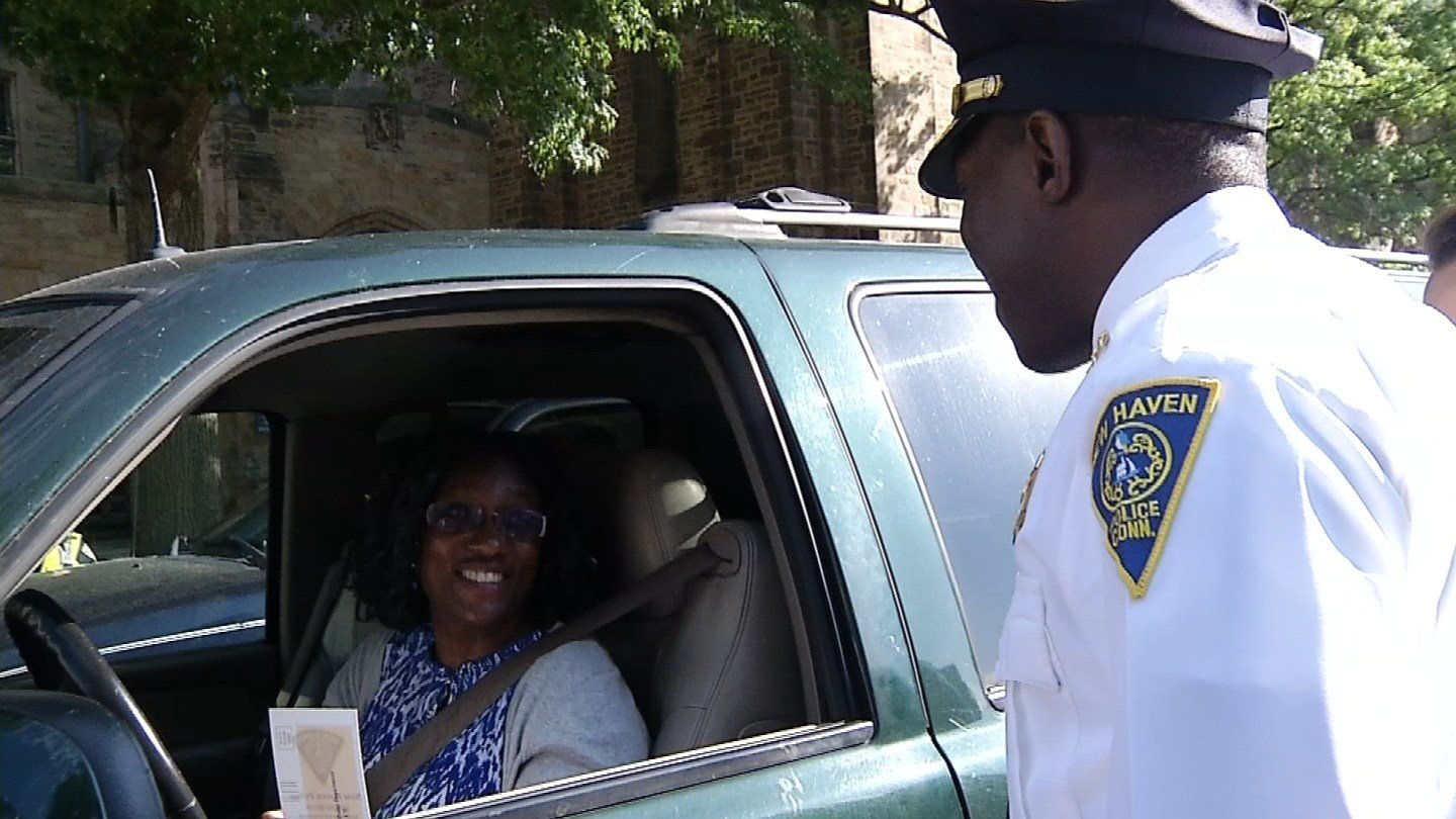 The New Haven Police Department used tickets as a recruitment tool on Thursday. (WFSB)
