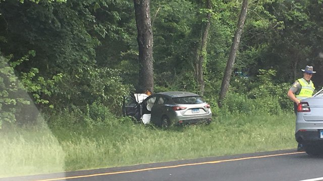 The crash with life-threatening injuries has caused traffic delays on the southbound side of Interstate 91 in Wallingford. (WFSB)
