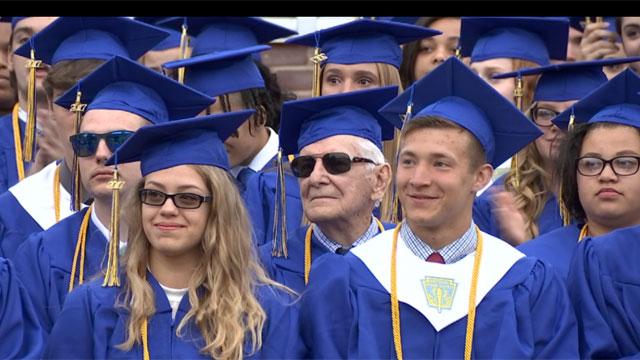 A 91-year-old World War II veteran got his high school diploma. (WFSB)