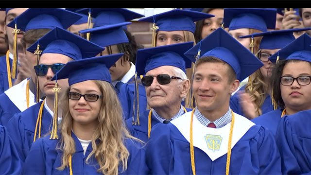 A 91-year-old World War II veteran got his high school diploma. (WFSB)