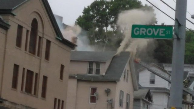 Crews are fighting a house fire on Central Avenue in Waterbury (Viewer Photo)