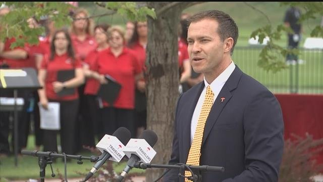Tournament director Nathan Grube speaks at the opening ceremonies for Travelers Championship on Monday. (WFSB)