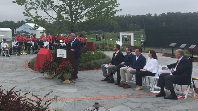 PGA TOUR Commissioner Jay Monahan speaks at the opening event. (WFSB)