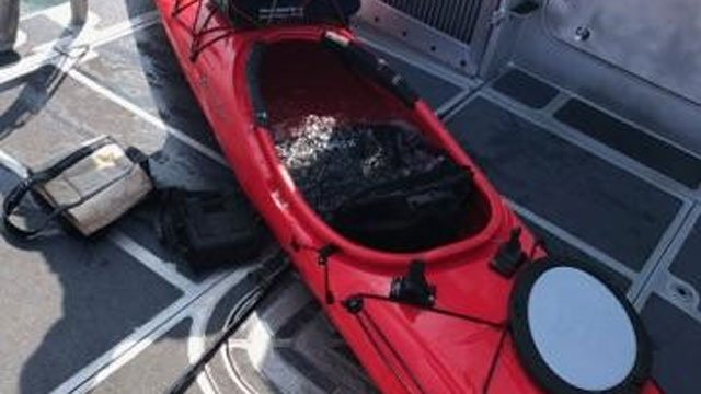 This kayak was located off the coast of Bridgeport on Monday morning. (Coast Guard)