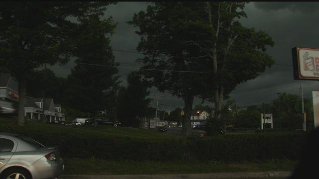 Ominous clouds rolled through Watertown on Monday afternoon (WFSB)