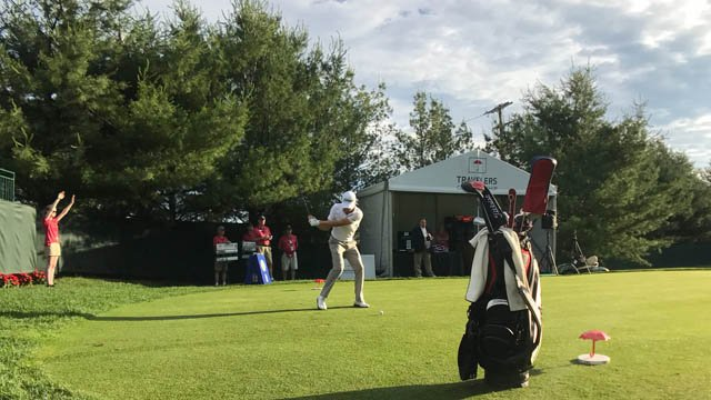 The Travelers Championship celebrity pro-am kicked off at 6:50 a.m. on Wednesday. (@TravelersChamp photo)