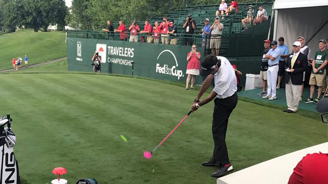 Bubba Watson tees off at the Travelers Championship celebrity pro-am. (WFSB)