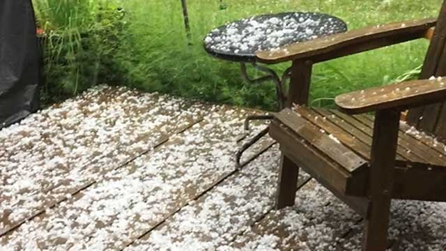Hail fell in Colebrook on Wednesday afternoon (Rich Marino)