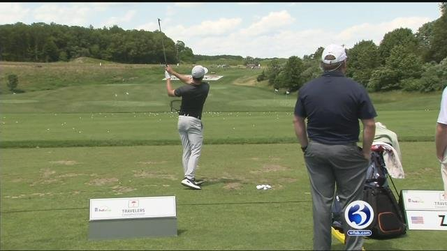 Zach Zaback played in the Travelers Championship on Thursday (WFSB)