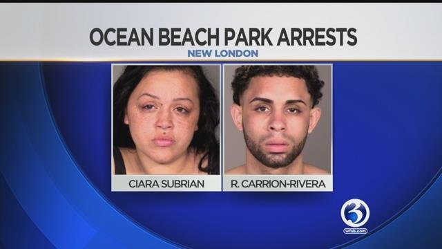 Ciara Subrian and Robert Carrion-Rivera were arrested following an altercation at Ocean Beach Park on Saturday. (New London Police Department)