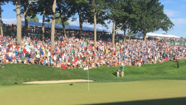 Crowds gathered to watch the playoff at the Travelers Championship. (WFSB)