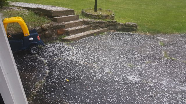 A significant amount of hail fell in New Hartford, along with torrential rains, thunder and lightning.  (Keith Boucher)