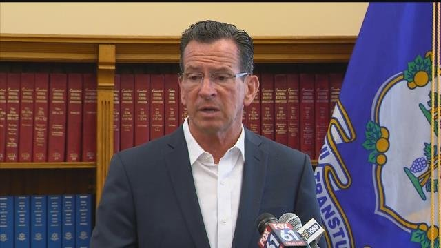 Gov. Malloy talked about the state budget.  (WFSB photo)
