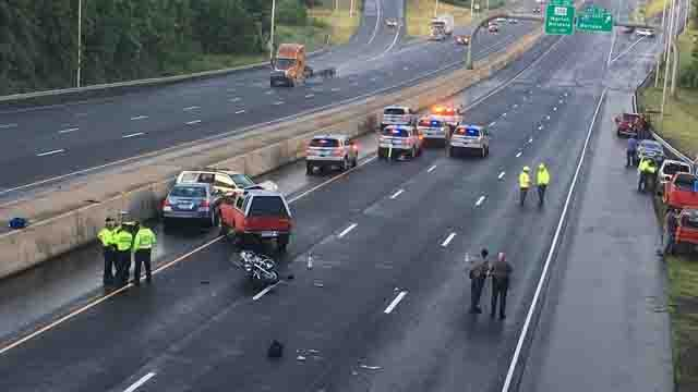 A motorcyclist was killed in one of a couple of multi-vehicle crashes on I-84 East on the Cheshire-Southington line (WFSB)