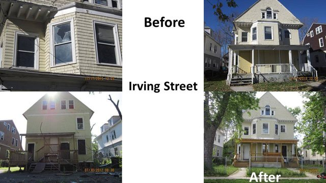 Work done by Hartford's blight remediation team on Irving Street. (Hartford 311 Facebook photo)
