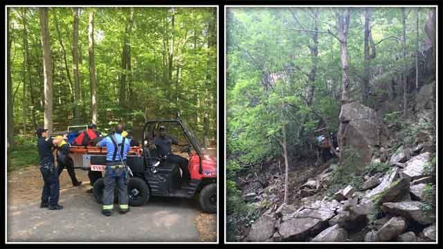 Crews in Hamden worked to rescue two hikers at Sleeping Giant State Park (Hamden Fire Dept.)