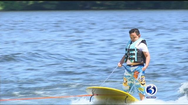 Visually impaired children were learning how to water ski this week (WFSB)