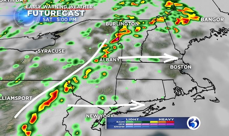Futurecast showing storms firing up later this afternoon.  (WFSB)