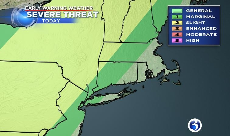Most of Connecticut in the marginal risk category for severe storms Saturday.  (WFSB)