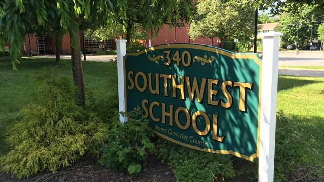 The swastika was found on the Southwest Elementary School sign (WFSB)