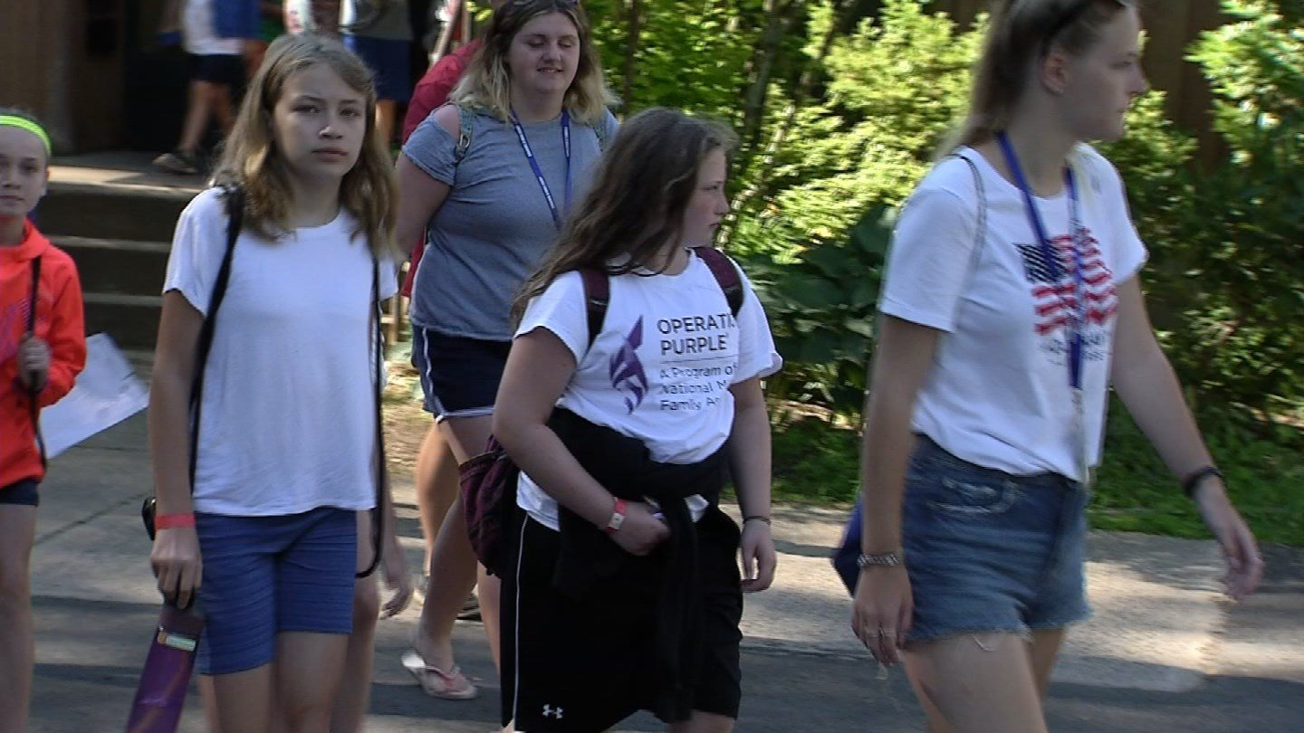 Campers prepare for Operation Purple Camp at the Channel 3 Kids Camp in Andover. (WFSB)