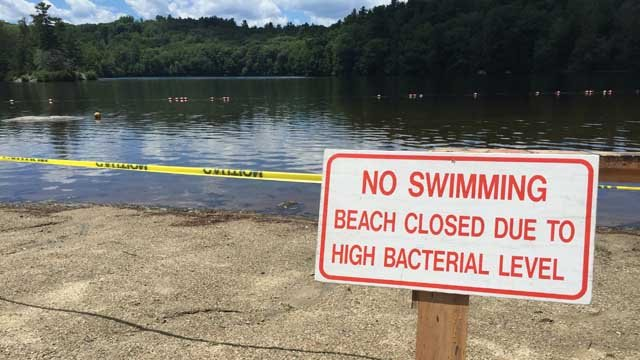 Burr Pond is expected to remain closed until the end of the week due to bacteria levels. (WFSB)