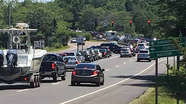 Drivers were turned away after the lot at Hammonasset Beach State Park was filled to capacity on Tuesday. (WFSB)