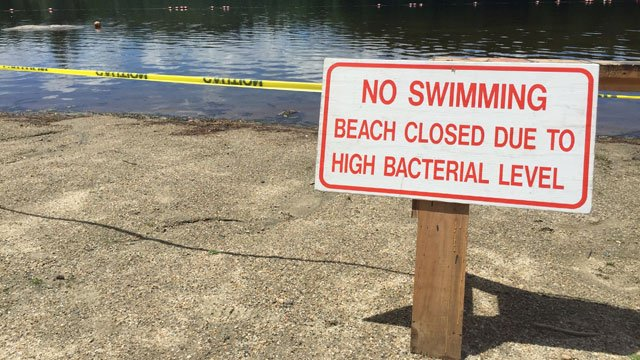 The swimming area at Burr Pond State Park in Torrington was closed for the Fourth of July. (WFSB)