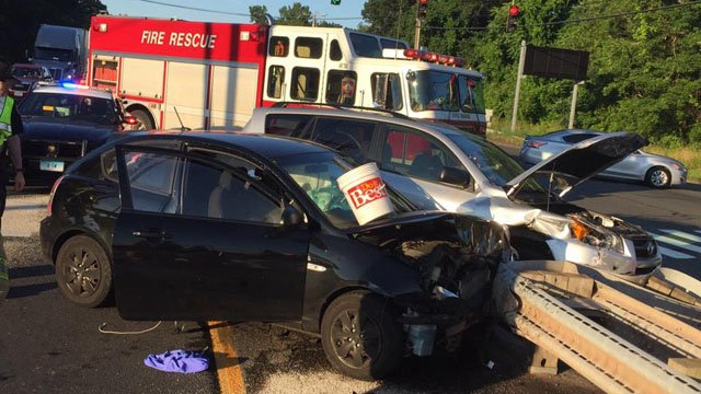 Three vehicles were involved in a South Windsor crash on Route 5 Wednesday morning. (South Windsor Fire Dept. photo)