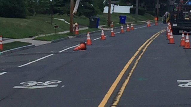 South Quaker Lane was closed because of a crash. (West Hartford Police Department)