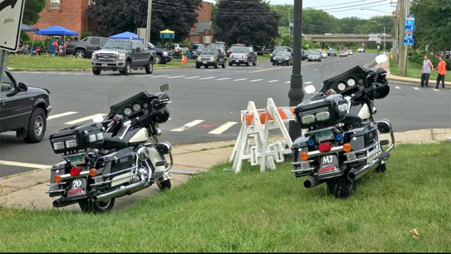 Police were out controlling congestion around Xfinity Theatre in  Hartford for Zac Brown Band on Thursday night. (WFSB)