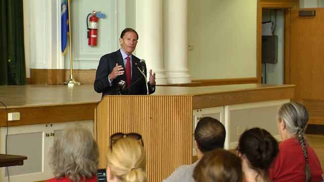 Senator Blumenthal held a town hall style meeting in West Hartford on Thursday (WFSB)